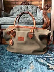 W And H Gidden Vtg Olive Canvas Leather Overnight Duffle Caryall Bag Equin Mens