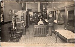 Interior Office Of Charles C. Robinson And Co. Real Estate New Castle Pa Postcard