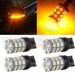 4x 7443 Error Free White Amber LED Front Turn Signal Light Dual Color+Resistor