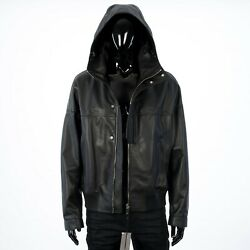 Dior Homme 4875 Black Hooded Leather Jacket With Front Flap And Logo