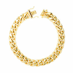 14K Yellow Gold Mens 11mm Miami Cuban Link Chain Bracelet Safety Box Clasp 9