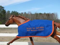 RAGS TO RICHES embroidered blanket Breyer thoroughbred race horse Belmont Stakes