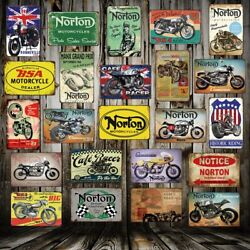 Norton Bsa Metal Signs Wall Poster Plaque Motor Mural Painting Antique Shed Pub