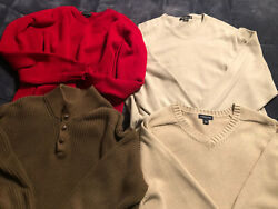 Lands End/eddie Bauer/ll Beanfour Men Sweaters-xl And Two Vests-one Xl And One L