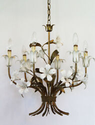 Italian Tole White Lily Chandelier Antique Made In Italy