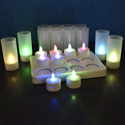 HL Rechargeable Tealights Christmas Decorations Flameless Wireless 3A Candles 12