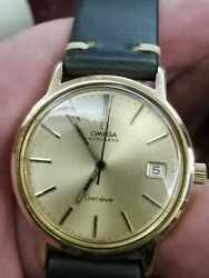 Omega Men's Watch 18 K Gold Plated Geneve Cal 1012 Automatic With Date 1950s
