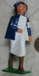 Vintage Barclay Manoil Military Nurse In Blue And White Solid Cast