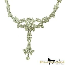 Estate Diamond Floral Motif Cocktail Necklace In 18k White Gold 17 Inches