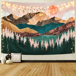 USA Watercolor Mountain Tapestry Art Wall Hanging Tapestries Home Wall Decor