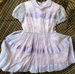 Vintage 1940s 1950s Girls Celeste Of New York Pink Lilac Sheer Bow Organza Dress