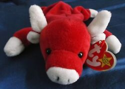 New Rare Ty Beanie Baby Snort Red Bull W/ Swing Tag / 11 Errors, Pvc Pellets Nwt