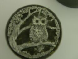 Owl Pewter Vintage Metal Round Containers 4 X2 Inches Trinket Boxes Snuff Boxes