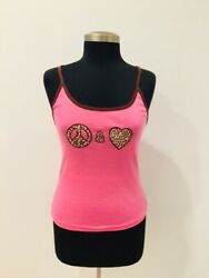 Dollhouse Large L Women Top Pink Love & Peace Sign