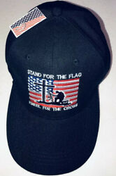 Stand for the Flag Kneel for the Cross Hat Black Adjustable Cap