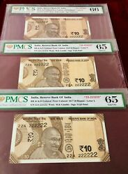Rs 10/- 22a 222222 Super Super Solid Issue Ultra Rare Triple Pair Graded