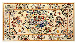 4and039x2and039 Marble Dining Table Top Inlay Pietra Dura Marquetry Work Garden Home Decor