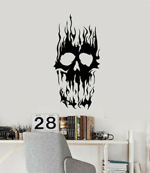 Vinyl Wall Decal Horror Scary Tattoo Fire Skeleton Teen Room Stickers G2153