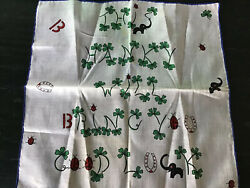 "Vintage NOVELTY ""Good luck"" handkerchief; Elephants Horseshoe 4 Leaf Clover!"