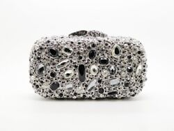 Hearty Trendy Luxurious Two Tone Color Crystal Glass Rhinestone Evening Bag $49.95