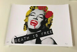 Huge 32x45 Cm Death Nyc Death Is Free 5/100 Signed Very Rare Shepard Fairey Coa