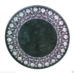 24x24 Green Marble Coffee Side Table Top Inlay Mother Of Pearl New Year Gifts