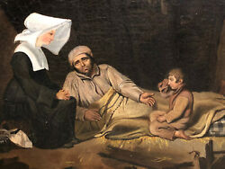 Oil On Canvas Religious Misery Child Father Sufferer Xix Anddeg Th Antique Painting