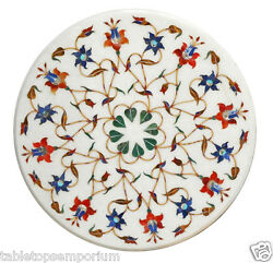 18x18 Marble Living Room Coffee Table Top Stone Inlay Marquetry Mosaic Decor