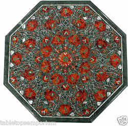 18 Green Marble Coffee Table Top Inlay Pietra Dura Occasional Home Decor Gifts