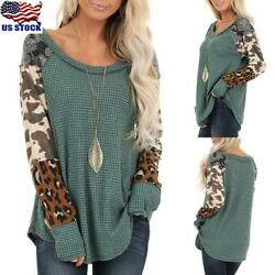 Womens Causal Leopard Print Tunic Tops Ladies Long Sleeve Blouse O Neck T-Shirt