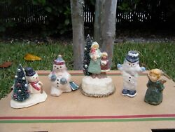 Teena Flanner Midwest Cannon Falls Snowmen Angel Christmas Figurines Lot Of 5