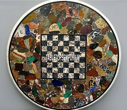 24and039and039 White Marble Chess Table Top Pietra Dura Stone Inlay Mosaic Decorative