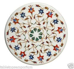 24x24 Marble Round Table Top Mosaic Inlay Marquetry Floral Art Decor Furniture