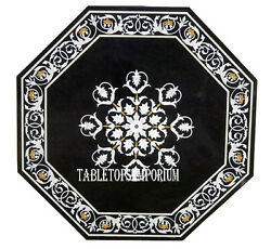 24 Black Marble Coffee Side Table Top Marquetry Inlay Occasion Furniture Decor