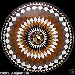 24 Black Marble Marquetry Inlay Coffee Center Table Top Mosaic Home Decor Gifts
