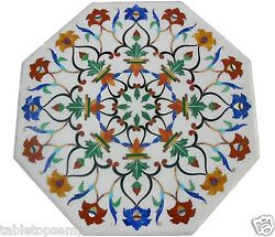24x24 Marble Coffee Side Table Top Mosaic Inlay Marquetry Living Room Decor