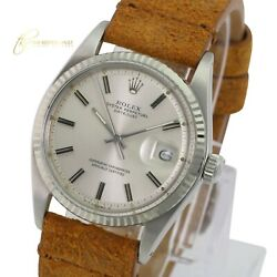 Rolex Mens Datejust Ss 36mm Silver Dial 14k Gold Fluted Bezel Leather Watch
