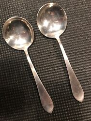 Antique Frank M. Whiting 2 Soup Spoons And039and039adamsand039and039 Sterling Silver Flatware