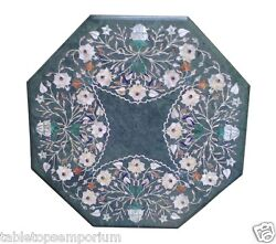 24x24 Green Marble Coffee Table Top Inlay Marquetry Mosaic Hallway Home Decor