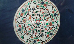 30 White Marble Top Coffee Side Table Malachite Floral Inlay Hallway Decor Gift