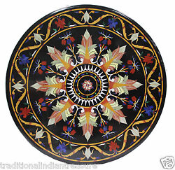 30x30 Marble Side Coffee Table Top Pietra Dure Mosaic Floral Hallway Decor