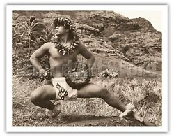 Hawaiian Male Kane Hula Dancer - Alan Houghton Vintage Photograph Art Print