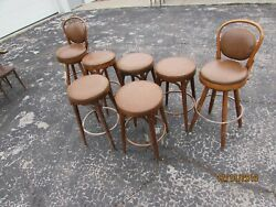 Thonet Style Bentwood Seat Bistro Cafe Stool Shelby Williams Lot Of 7 St