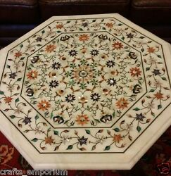30 White Marble Dining Table Top Multi Floral Inlay Marquetry Home Decor Gifts