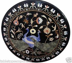 30 Marble Side Table Top Peacock Inlay Floral Mosaic New Year Home Decor Gifts