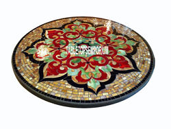 36and039and039 Black Round Marble Dining Top Table Marquetry Pietra Dura Inlay Home Decor