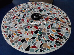 36 Marble White Top Dining Table Multi Stones Inlay Living Room Home Decor Gift