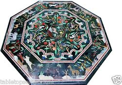 36x36 Marble Dining Table Top Pietra Dure Animals Art Mosaic Inlay Home Decor