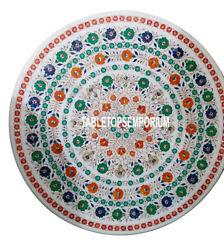 36 White Marble Center Dining Table Top Multi Floral Gems Inlay Hallway Decor