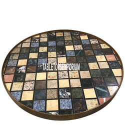 36 Black Marble Center Dining Table Top Inlay Gems Mosaic Occasional Decor Gift